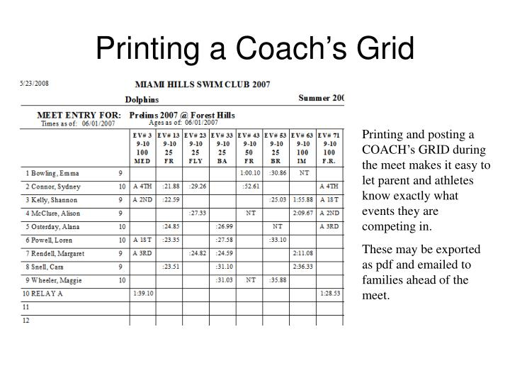 Printing a Coach's Grid