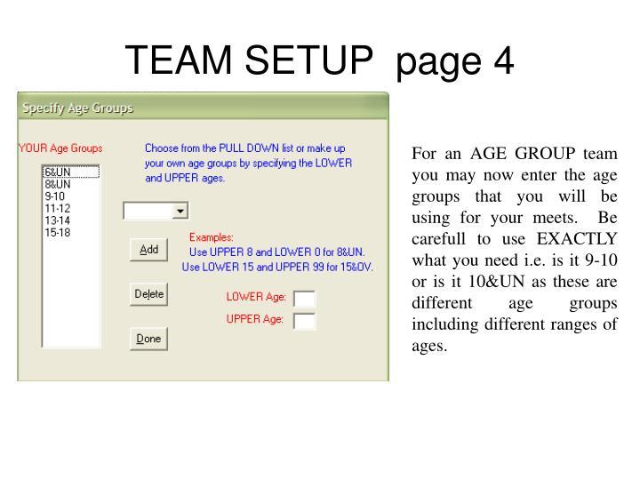 TEAM SETUP  page 4
