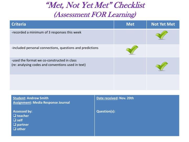 """""""Met, Not Yet Met"""" Checklist"""