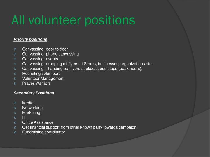 All volunteer positions