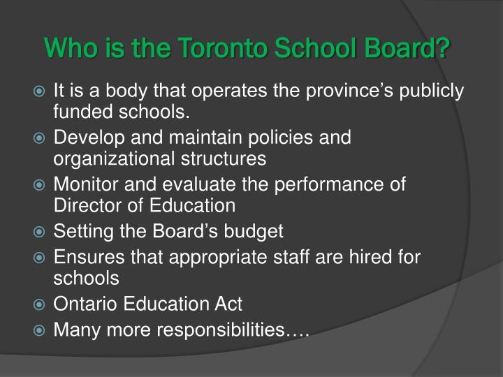 Who is the Toronto School Board?