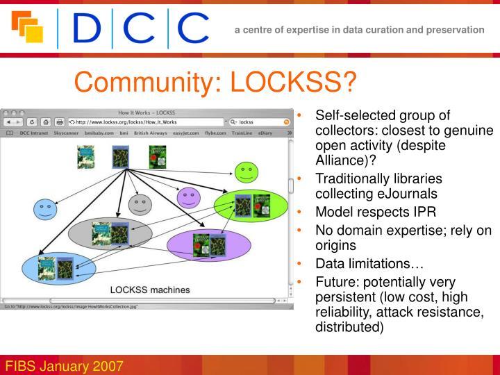 Community: LOCKSS?
