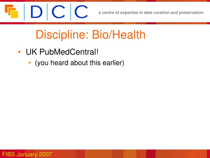 Discipline: Bio/Health