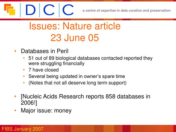 Issues: Nature article