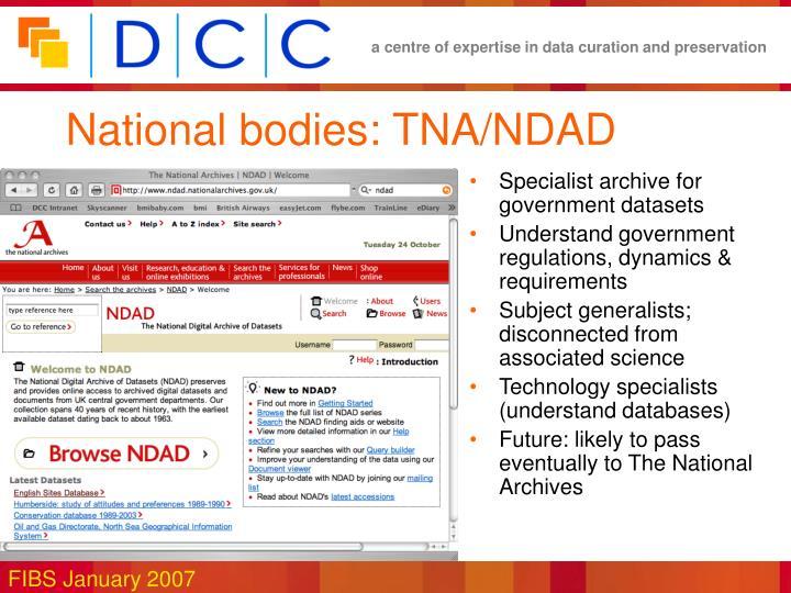 National bodies: TNA/NDAD