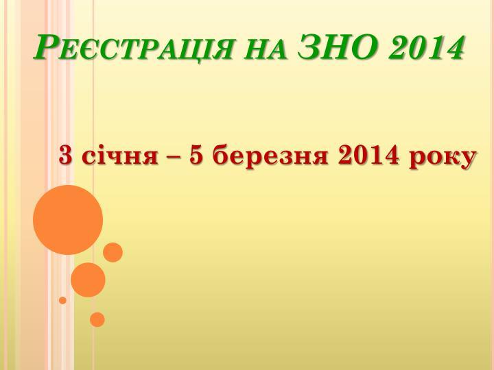 Реєстрація на ЗНО 2014