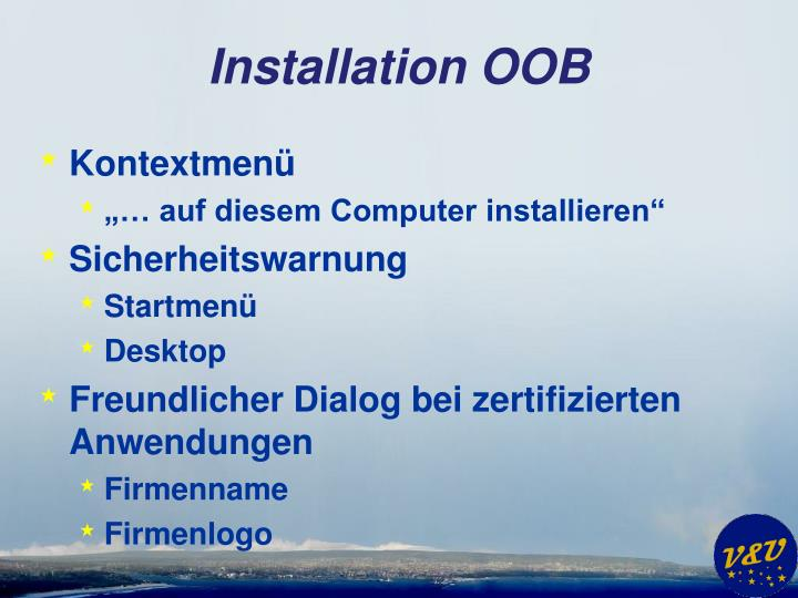 Installation OOB