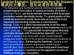 cambrian explosion evolutionists have no answers2
