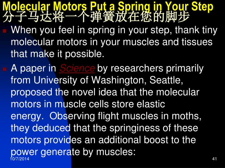 Molecular Motors Put a Spring in Your Step