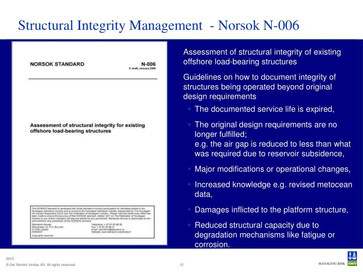 Structural Integrity Management  - Norsok N-006