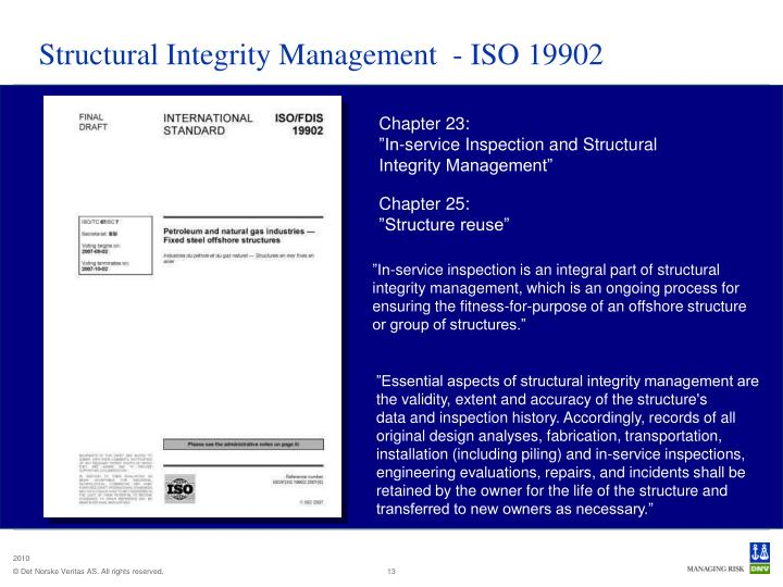 Structural Integrity Management  - ISO 19902