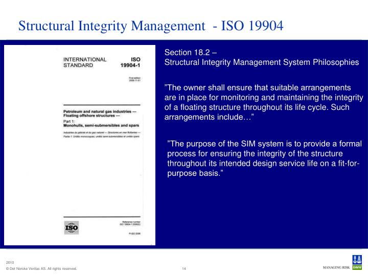 Structural Integrity Management  - ISO 19904
