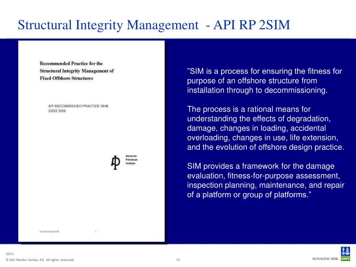 Structural Integrity Management  - API RP 2SIM