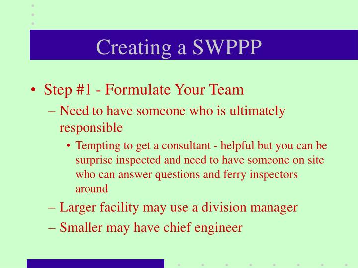 Creating a SWPPP
