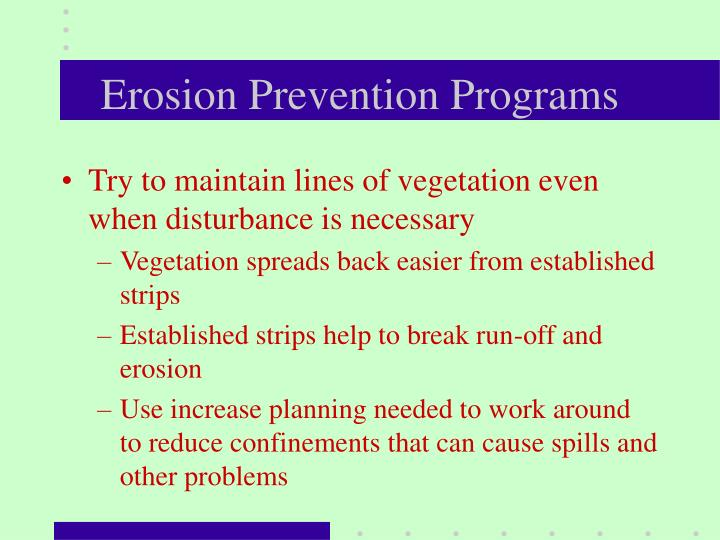 Erosion Prevention Programs