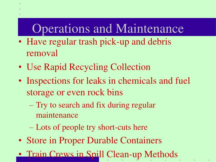 Operations and Maintenance