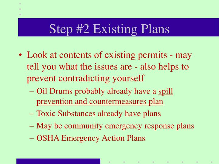 Step #2 Existing Plans