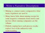 write a narrative description
