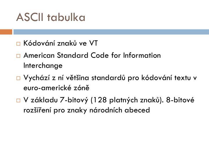 ASCII tabulka