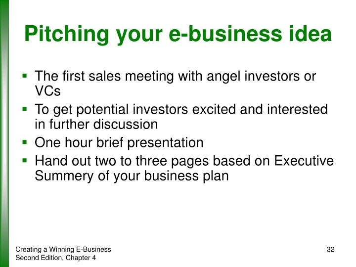 Pitching your e-business idea