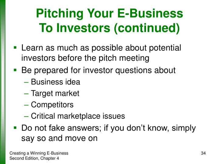 Pitching Your E-Business