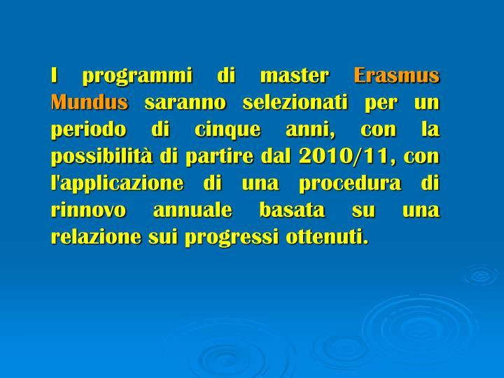 I programmi di master