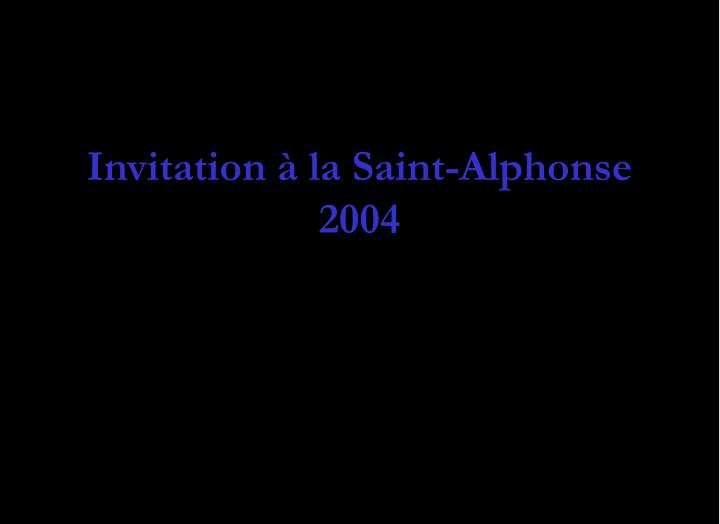 Invitation à la Saint-Alphonse 2004