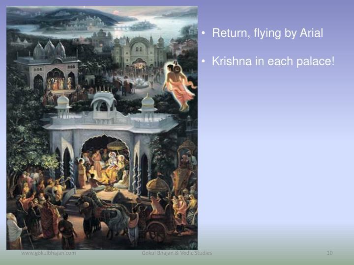 Return, flying by Arial