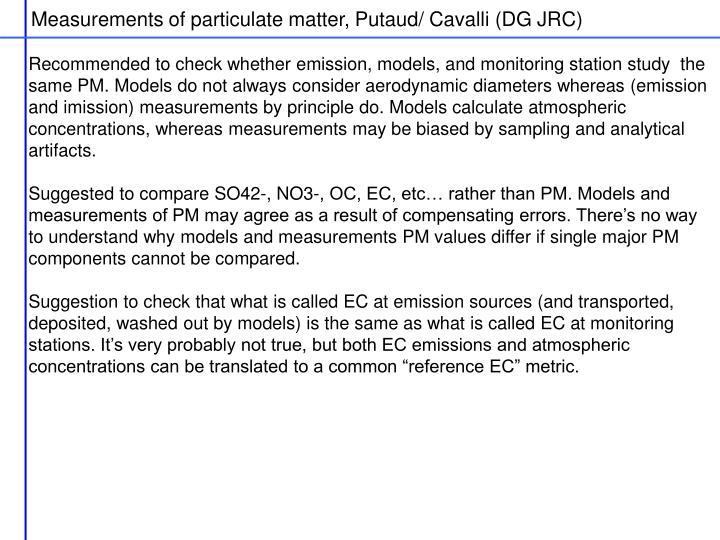 Measurements of particulate matter, Putaud/ Cavalli (DG JRC)