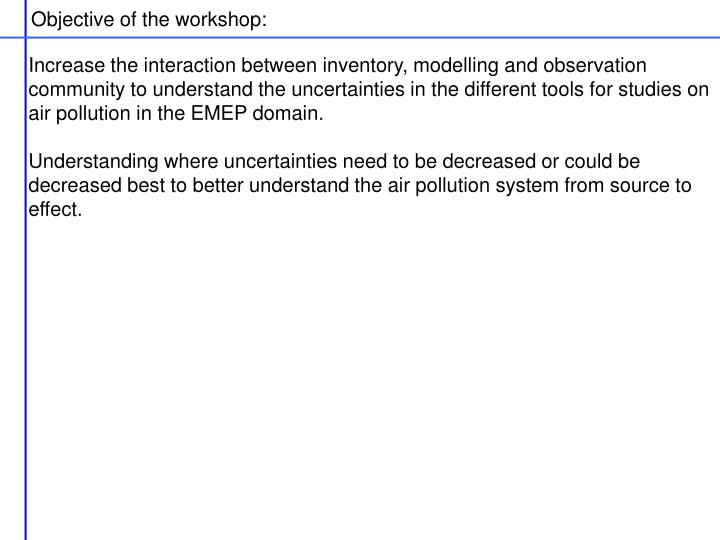 Objective of the workshop: