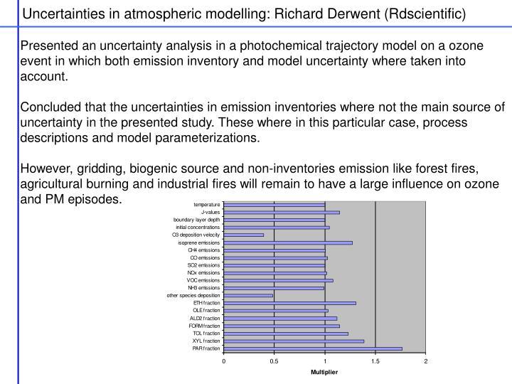 Uncertainties in atmospheric modelling: Richard Derwent (Rdscientific)