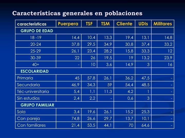 Características generales en poblaciones