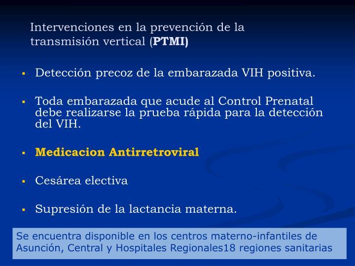 Intervenciones en la prevención de la transmisión vertical (