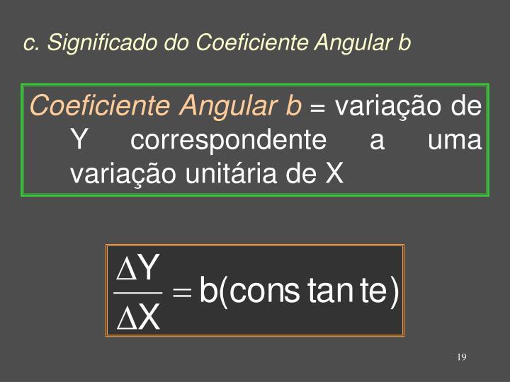 c. Significado do Coeficiente Angular b