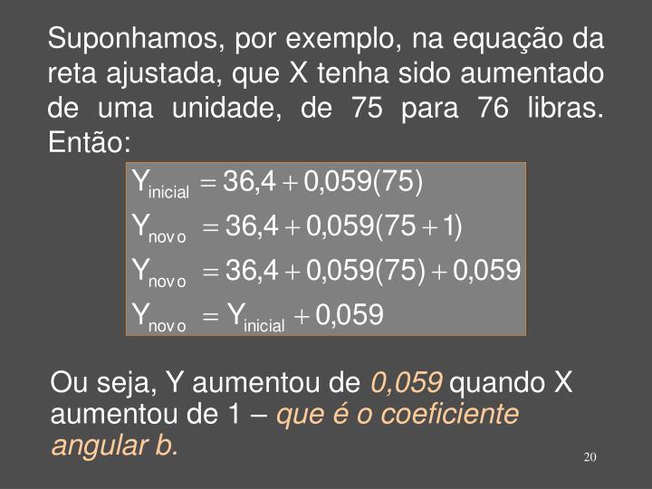 Suponhamos, por exemplo, na equação da reta ajustada, que X tenha sido aumentado de uma unidade, de 75 para 76 libras. Então: