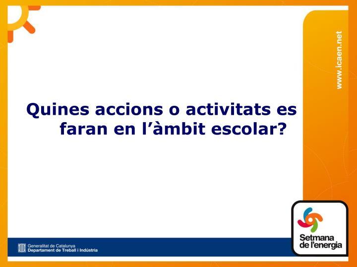 Quines accions o activitats es faran en l'àmbit escolar?