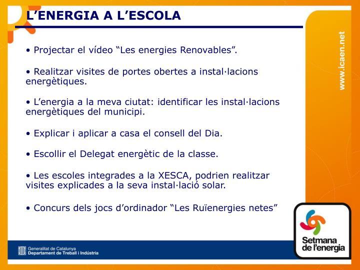 L'ENERGIA A L'ESCOLA
