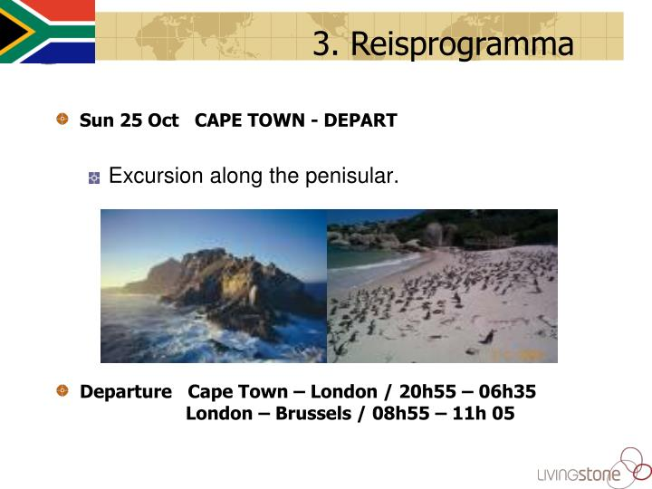 Sun 25 Oct   CAPE TOWN - DEPART