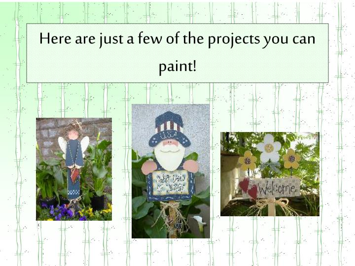 Here are just a few of the projects you can paint!