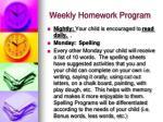 weekly homework program