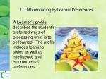 1 differentiating by learner preferences