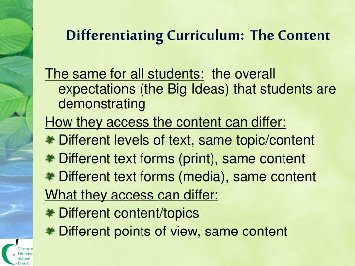 Differentiating Curriculum:  The Content