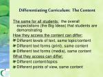 differentiating curriculum the content