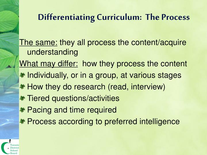 Differentiating Curriculum:  The Process