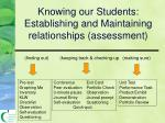 knowing our students establishing and maintaining relationships assessment