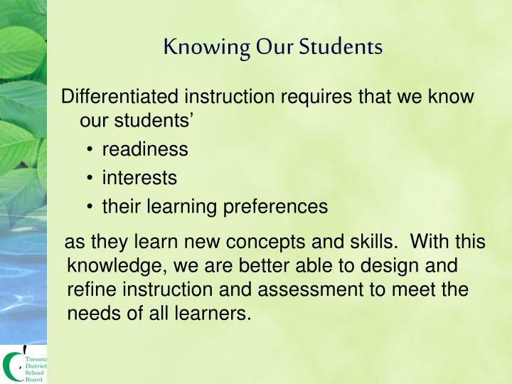 Knowing Our Students
