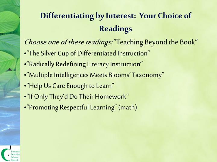 Differentiating by Interest:  Your Choice of Readings