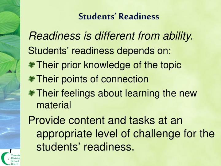 Students' Readiness