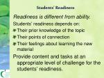 students readiness