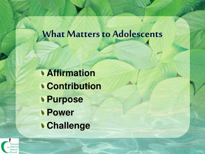What Matters to Adolescents